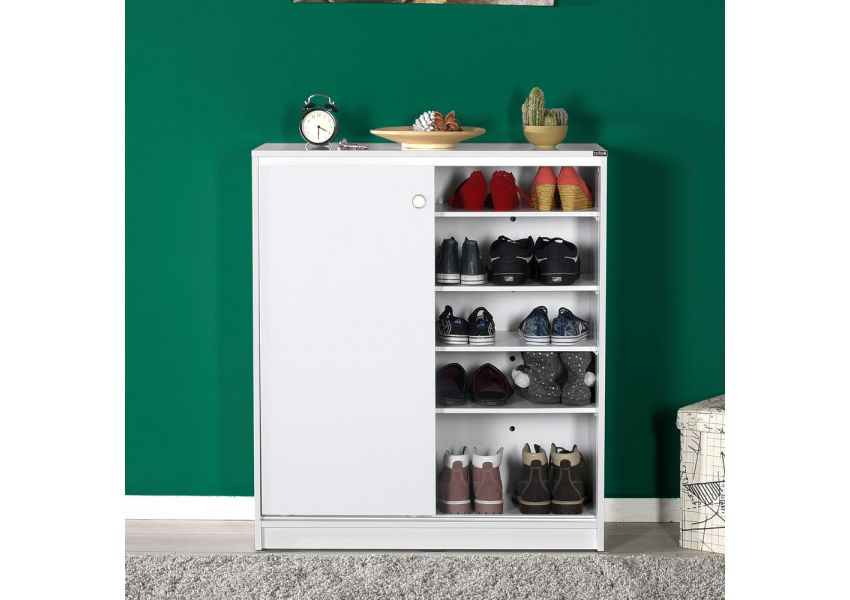 Adore Shoe Cabinet with Five Shelves & Sliding Doors