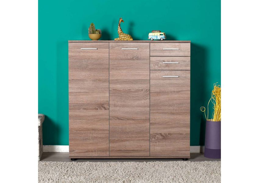 Adore Shoe Cabinet with Three Doors & Two Drawers