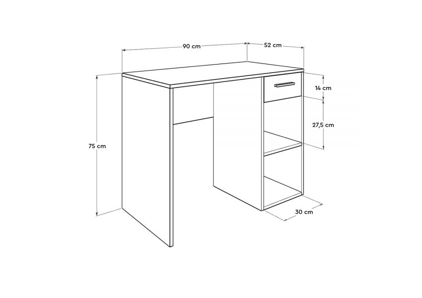 Adore Study & PC Desk with Sections & One Drawer