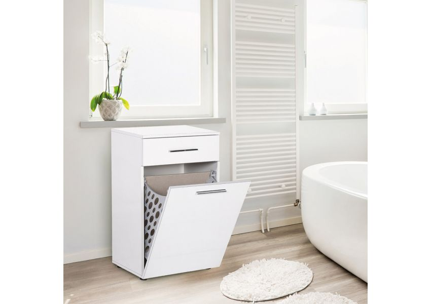 Adore Laundry Cabinet with Laundry Basket Section & One Drawer
