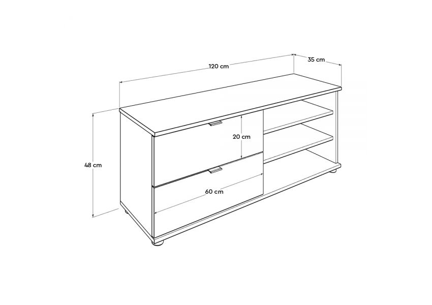 Adore Tv Stand with Two Drawers & Three Sections