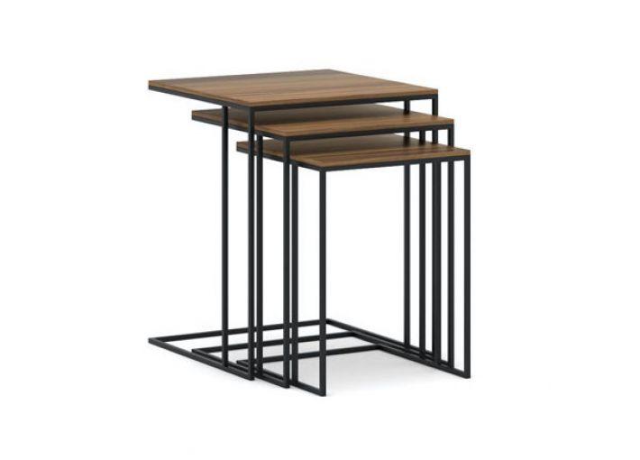 Square Black Metal Nesting Table