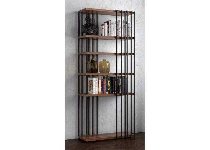 Cross Bookshelf - Natural Walnut Shelves - Metal Skeleton
