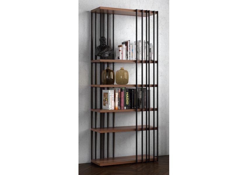 Cross Bookshelf - Metal Skeleton - Natural Walnut Shelves