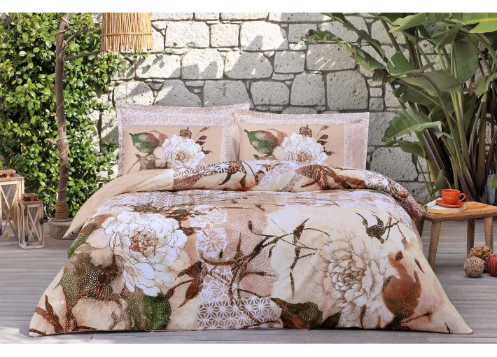 Peonies Double Bed Set - Satin