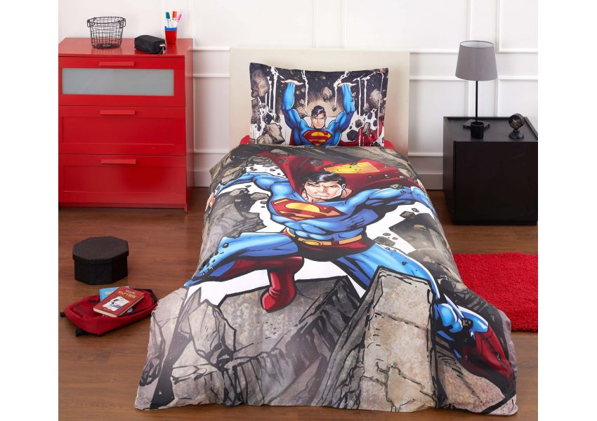 superman stone single bed set
