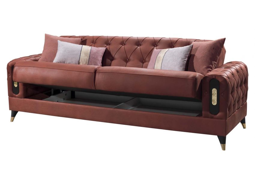 Gold 3 Seater Sofa Bed