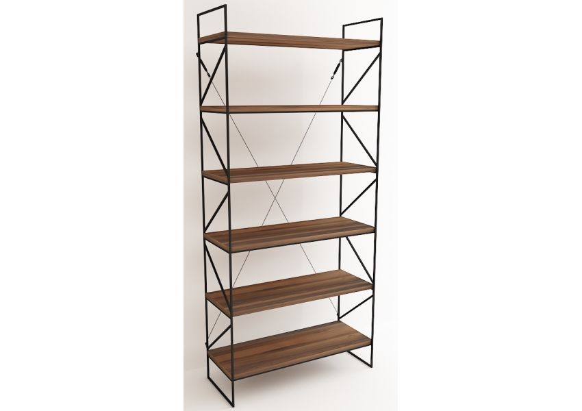 Metal Gergi Bookshelf - Natural Walnut